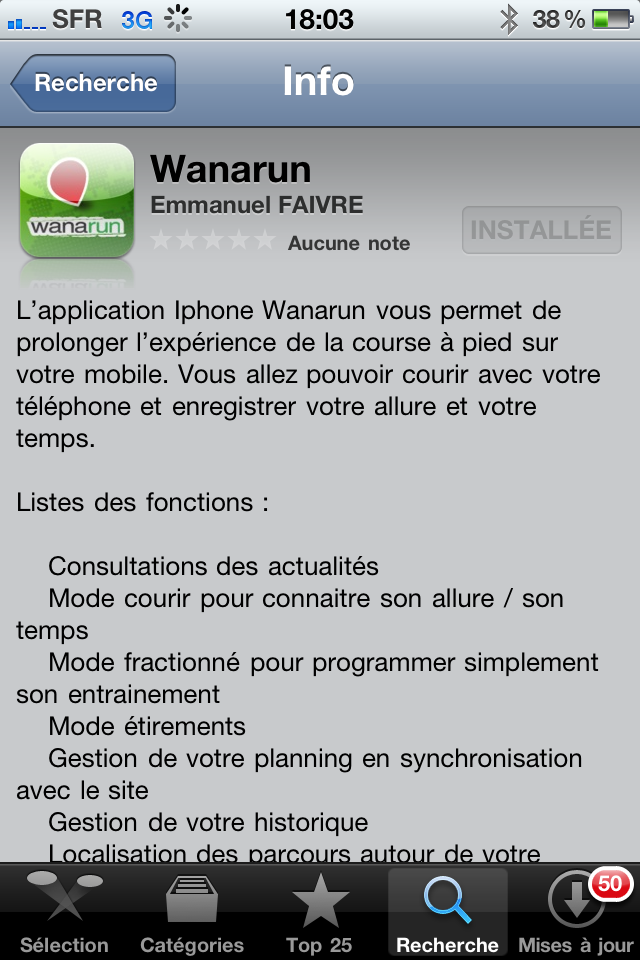 Sortie officielle de l'application Wanarun sur Iphone