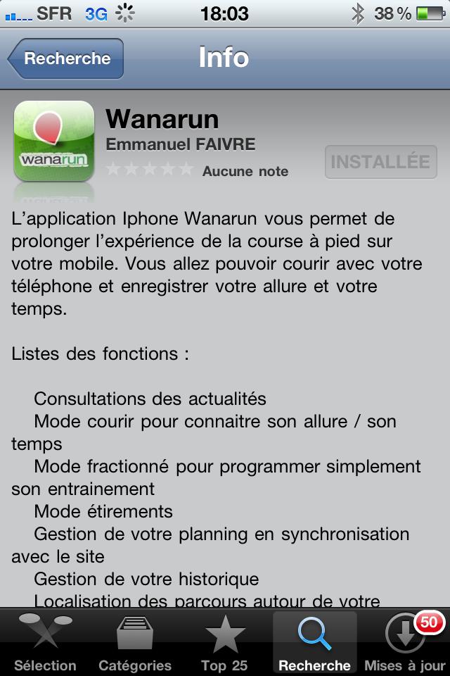 Sortie officielle de l'application Wanarun sur Iphone
