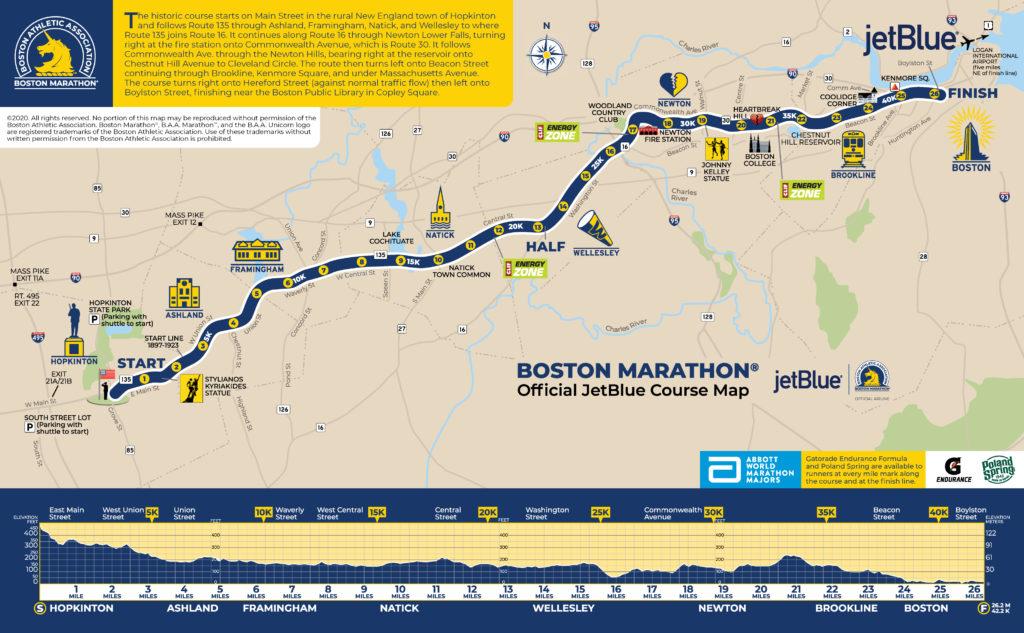 parcours marathon de Boston 2020